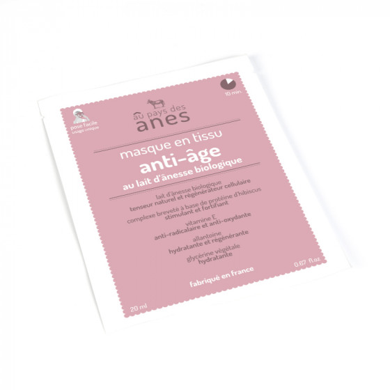 Masque en tissu au lait d'ânesse biologique Anti-âge 20 ml