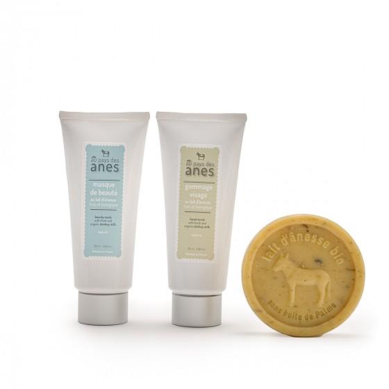 Pack nettoyant visage : gommage, masque, savon exfoliant camomille